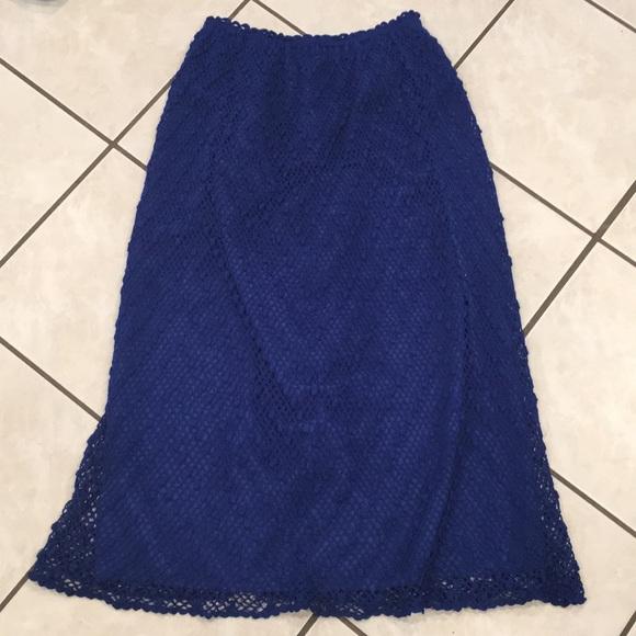 Vintage Dresses & Skirts - Gorgeous blue crocheted vintage midi skirt